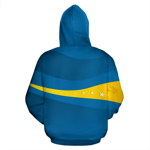 Sverige Wavy Line x Coat of Arms Sweden Hoodie with Blue mix Yellow color - Back - For Men and Women