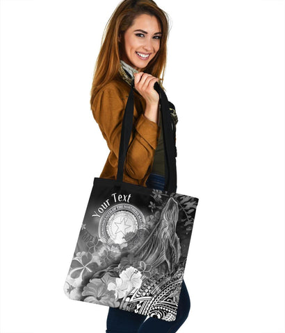 CNMI Custom Personalised  Tote Bags - Humpback Whale with Tropical Flowers (White)