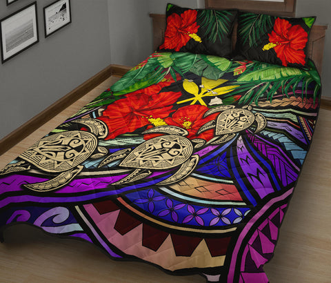 Kanaka Maoli (Hawaiian) Quilt Bed Set - Polynesian Turtle Colorful And Hibiscus| Love The World