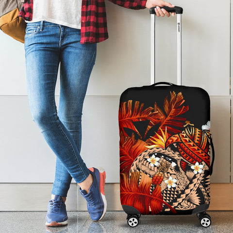 Kanaka Maoli (Hawaiian) Luggage Covers, Polynesian Pineapple Banana Leaves Turtle Tattoo Red
