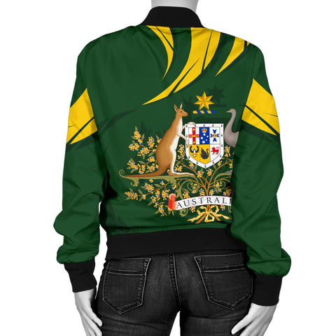 1stTheWorld Australia Bomber Jacket, Australia Coat Of Arms Women Green A10
