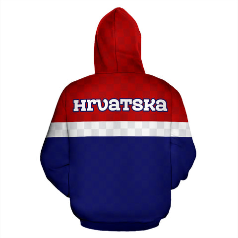 Croatia - Hrvatska Superhero Allover Zip Hoodie A0