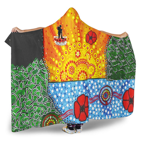 Image of Aboriginal Australian Anzac Day Hooded Blanket - Lest We Forget Poppy 2