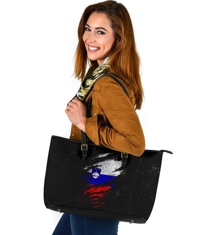 Slonevia in Me Leather Tote - Special Grunge Style A7
