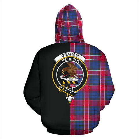 Image of Graham of Menteith Red Tartan Hoodie Half Of Me TH8