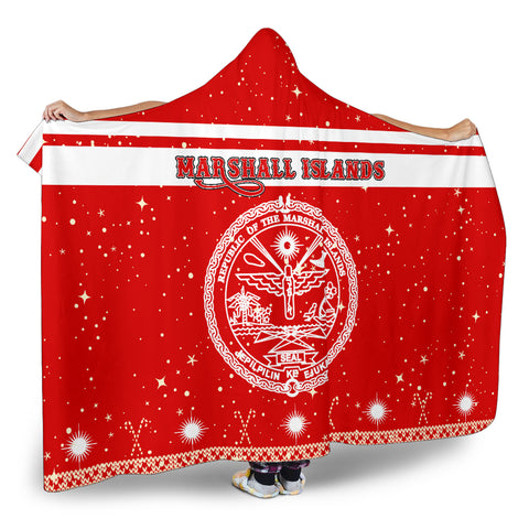 Marshall Islands Coat Of Arms Hooded Blanket - Red - Christmas Style - J092