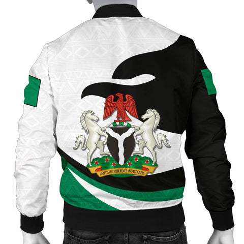 Nigeria Men Bomber Jacket Proud Version Back | 1sttheworld