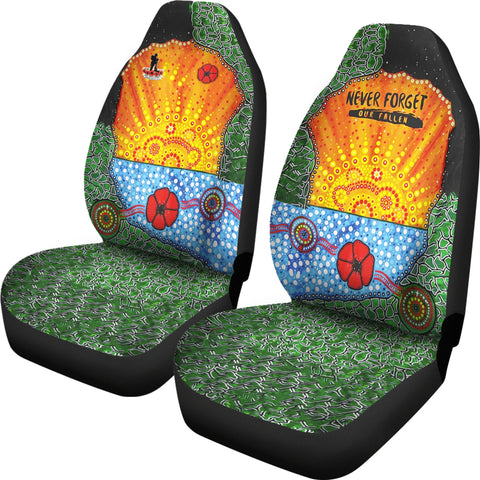 Image of Aboriginal Australian Anzac Day Car Seat Covers - Lest We Forget Poppy 2