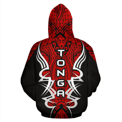 Tonga Turtle Polynesian Red Zip Up Hoodie - Armor Style J9