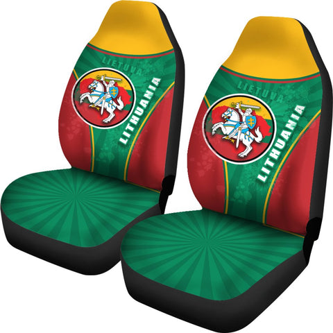 Image of Lithuania - Lietuva Car Seat Covers Circle Stripes Flag Proud Version | 1sttheworld