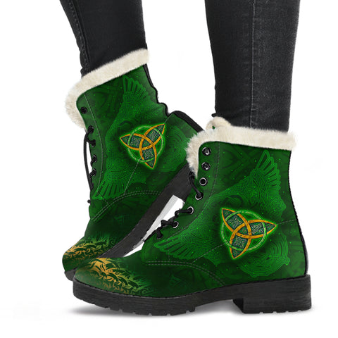 Image of Celtic Knot Faux Fur Leather Boots - Celtic Green - BN01