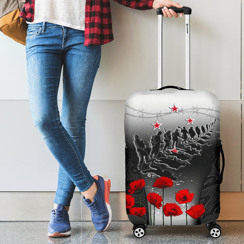Image of New Zealand Anzac Luggage Covers - Lest We Forget Poppy A02