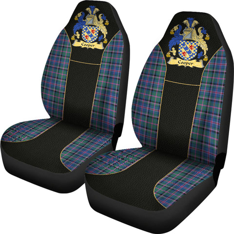Cooper Tartan Car Seat Cover - Golden Clan Badge K7