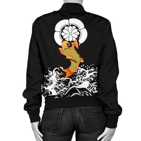 The Golden Koi Fish Women's Bomber Jacket A7