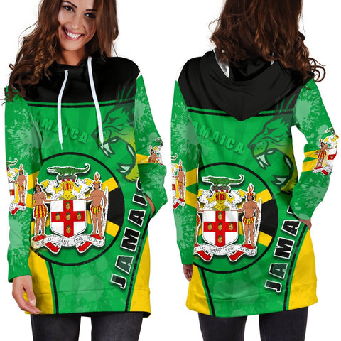 Jamaica Lion Women Hoodie Dress Circle Stripes Flag Version 1 | 1sttheworld