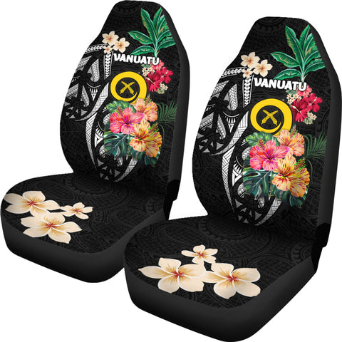 Vanuatu Car Seat Covers Coat Of Arms Polynesian With Hibiscus-2 TH5