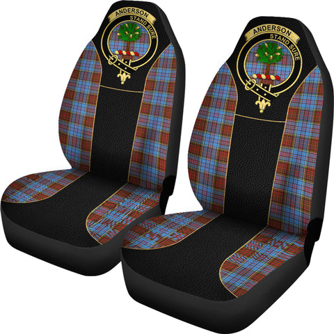 Image of Anderson Modern Tartan Car Seat Cover - Golden Clan Badge K7