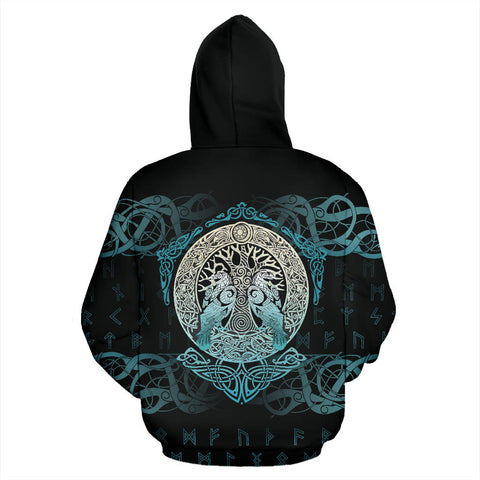 Image of Viking Hoodie Yggdrasil and Ravens A7
