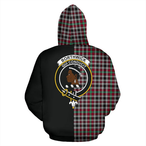 (Custom your text) Borthwick Ancient Tartan Hoodie Half Of Me TH8