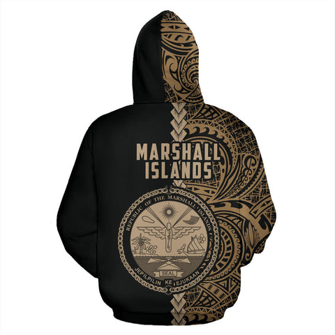 Marshall Islands Hoodie Polynesia - Half Style (Gold) (Zip) TH5