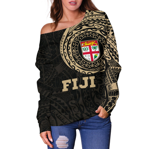 Fiji Polynesian Tattoo Style Off Shoulder Sweater A7