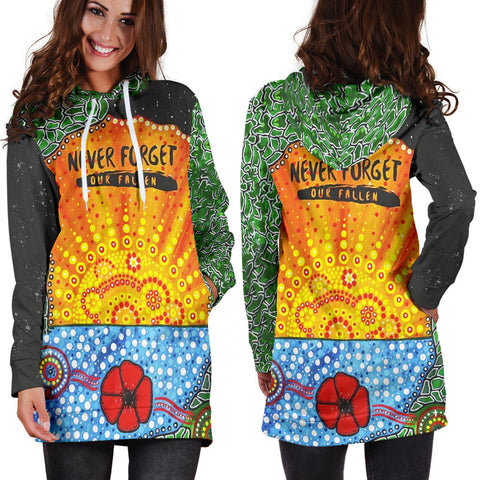 Aboriginal Australian Anzac Day Hoodie Dress - Lest We Forget Poppy 2