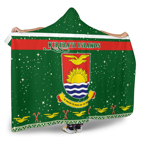 Kiribati Coat Of Arms Hooded Blanket - Green - Christmas Style - J092