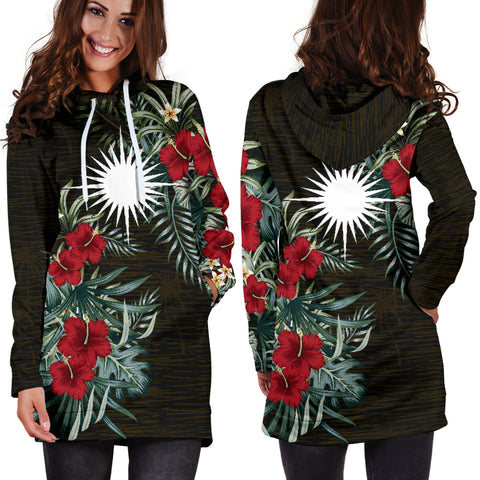 Image of Marshall Islands 2 Hibiscus Hoodie Dress A7