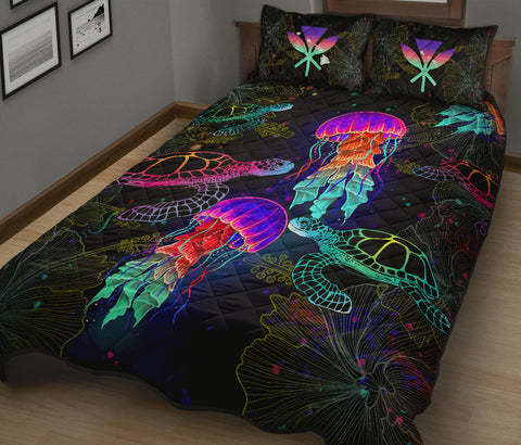 Kanaka Maoli (Hawaiian) Quilt Bed Set - Turtle And Jellyfish Colorful | Love The World