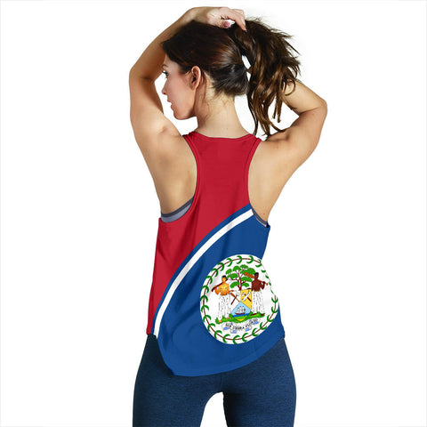 Image of Belize Women's Racerback Tank - Curve Version back
