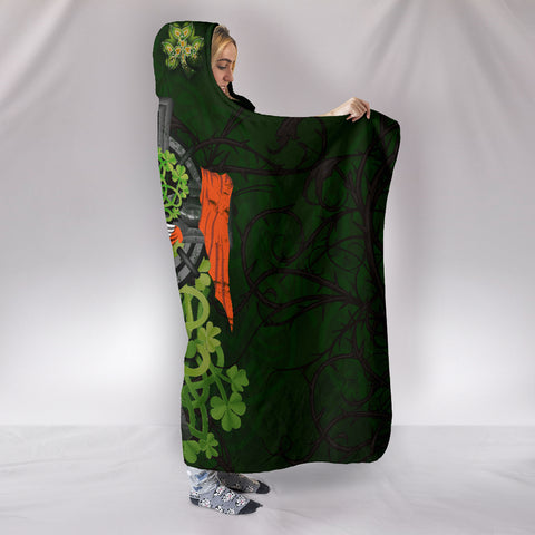 Irish Hooded Blanket Shamrock Celtic Cross | High Quality | Love The World