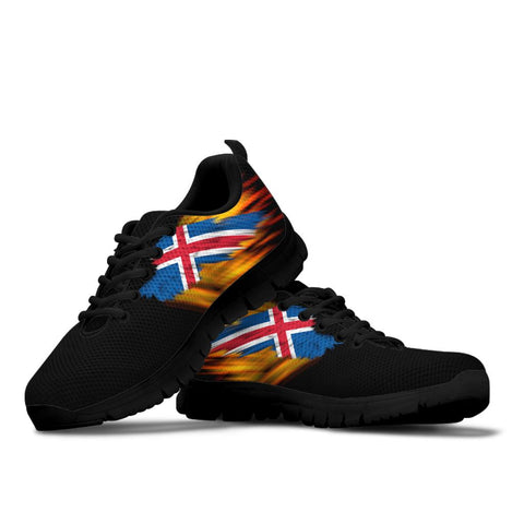 Iceland Sneakers - Fire Wings and Flag A188