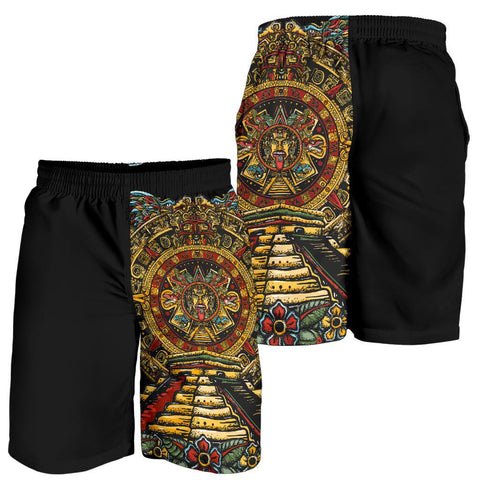 Image of Mexico Shorts Aztec Sun Stone Tattoo A7