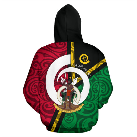 Vanuatu Flag Design All Over Hoodie - Green Red Color - Back