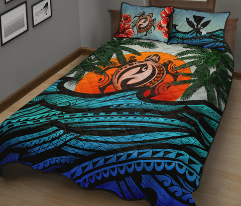 Image of Kanaka Maoli (Hawaiian) Quilt Bed Set - Polynesian Waves Turtle Coconut Tree And Hibiscus | Love The World