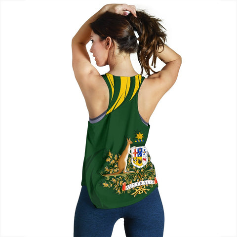 1stTheWorld Australia Racerback Tank, Australia Coat Of Arms Green A10