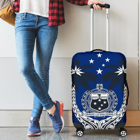 Image of Samoa Polynesian Coconut Luggage Covers (Blue) | Love the World