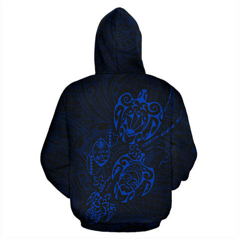 Guam Family Turtles Map Polynesian Hoodie - Blue back
