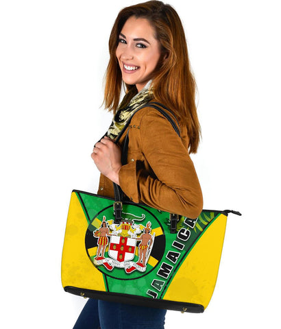 Jamaica Lion Large Leather Tote Circle Stripes Flag Version 1 | 1sttheworld