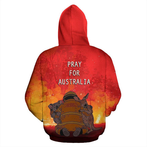 Pray for Australia Hoodie Koala Kangaroo Volunteer Fire back | 1sttheworld.com