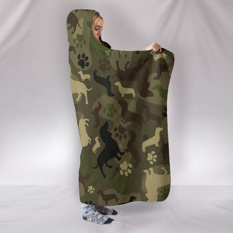 Image of Dachshund Camo Hooded Blanket K5