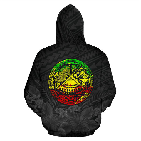 American Samoa Eagle with Seal Hoodie Rasta K4