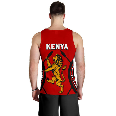 Image of Kenya Lion Men Tank Top Maasai Shield K4