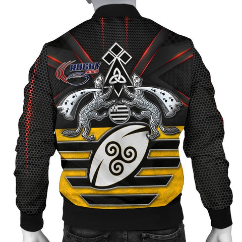 Bretagne Rugby with Celtic Triskelion and Stoat Ermine Sport Men's Bomber Jacket - BN21