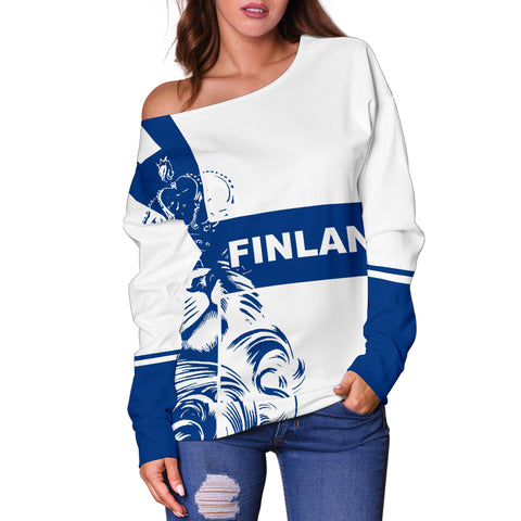 Image of Finland Lion Women's Off Shoulder Sweater Bn10