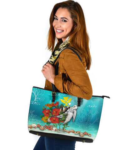 Image of Kanaka Maoli (Hawaiian) Leather Tote - Ocean Turtle Hibiscus A24