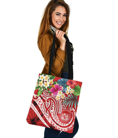 Image of Polynesian Hawaii Tote Bags - Summer Plumeria (Red)