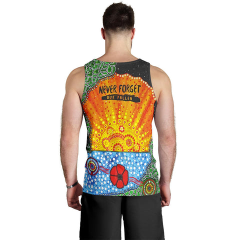 Aboriginal Australian Anzac Day Men Tank Top - Lest We Forget Poppy 2