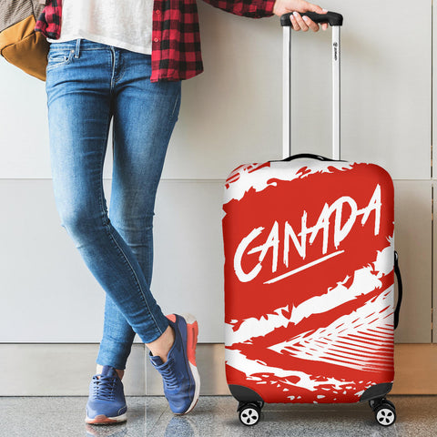 Canada Luggage Covers - Red White Color Blur Style