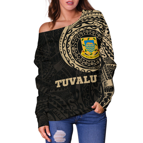 Tuvalu Polynesian Tattoo Style Off Shoulder Sweater A7